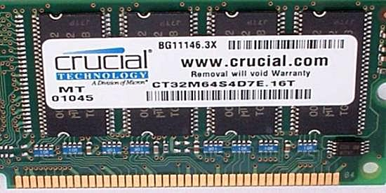 Computer Memory Upgrade - Memory Brand Label
